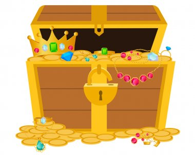 Opened wooden chest with treasures. Vector illustration
