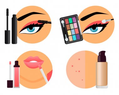 Professional Makeup. Health and beauty icons. Vector illustration