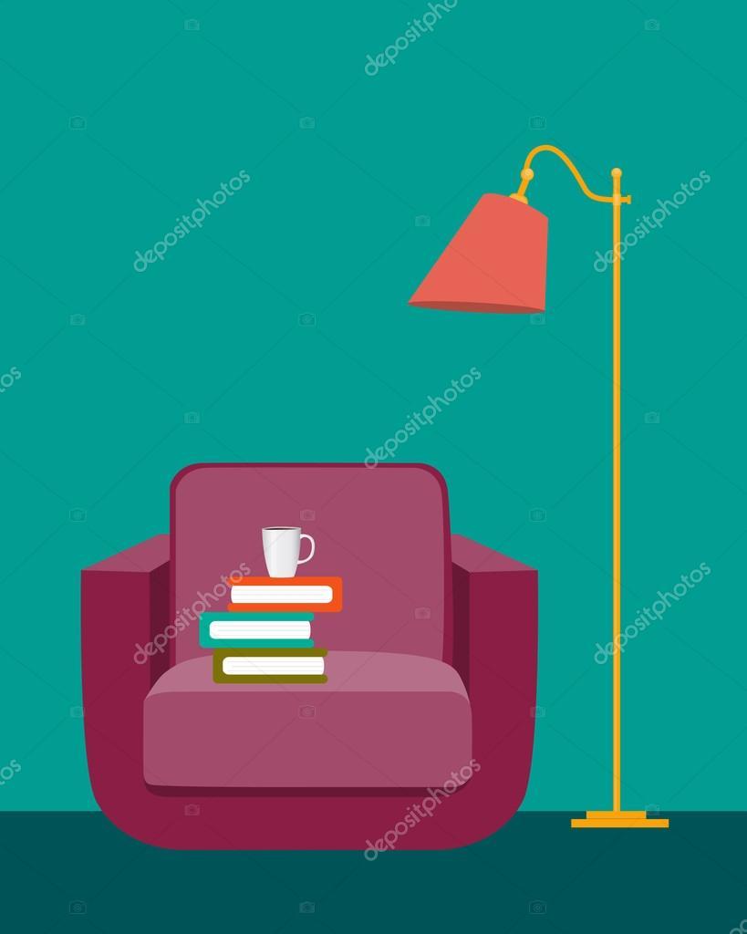 Sala de lectura interior con una silla libros y una - Lamparas para leer libros ...