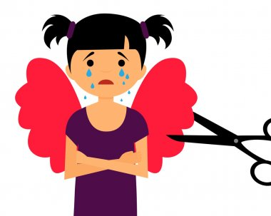 Growing up and loss of dreams. The child cut wings. Vector illustration