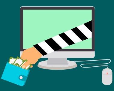 Stealing Money Online. Internet scammers. Vector illustration