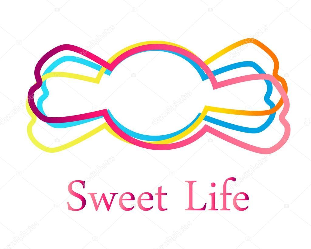 Plantilla de logotipo - dulces. Dulce vida. Ilustración de vector ...