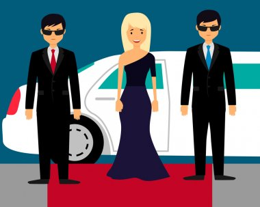 Superstar with bodyguards on the red carpet on the background of a limousine. Vector illustration