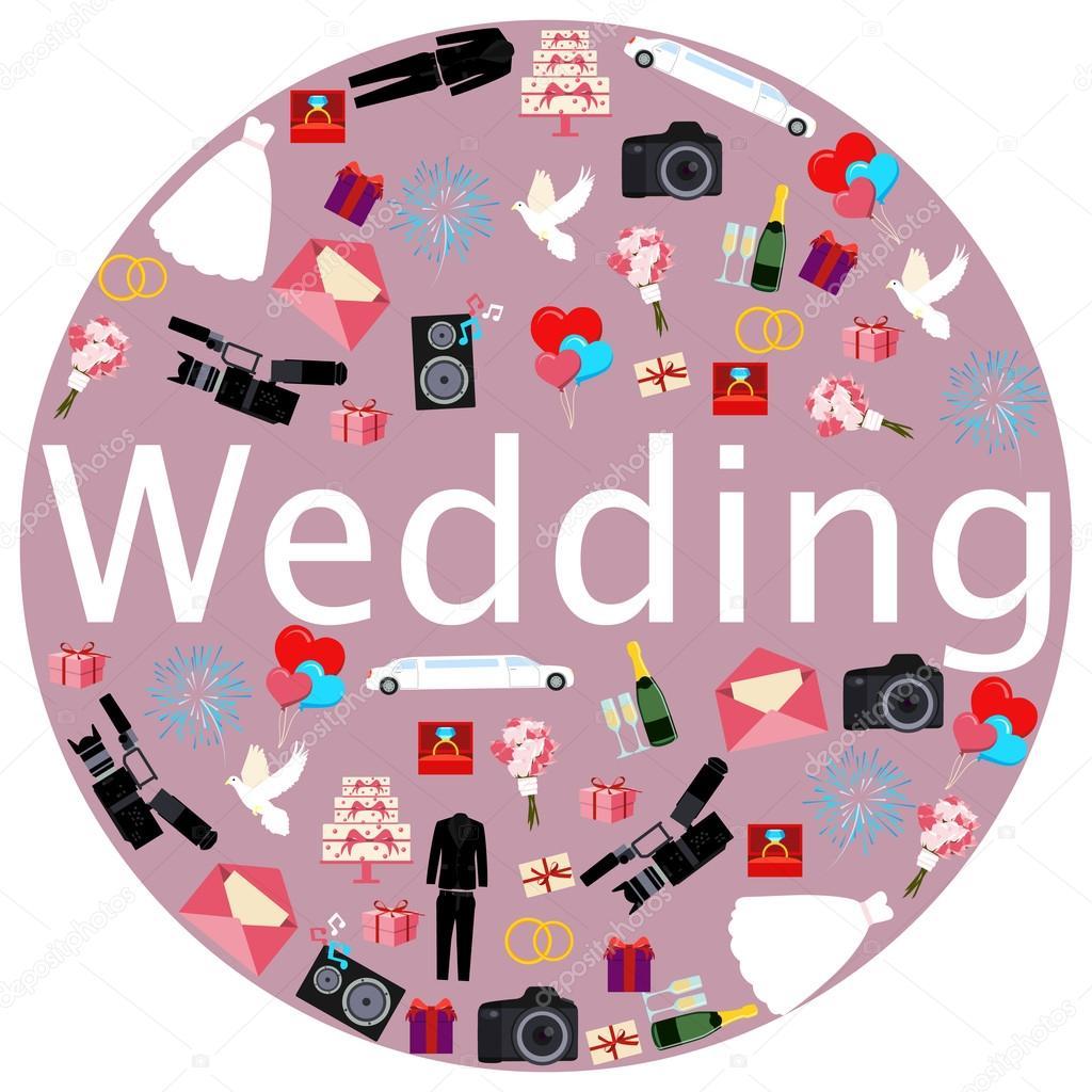 Ronda cartel boda. El vestido, traje y un ramo de flores ...