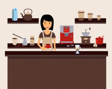 Barista holding a cup at coffee shop. Vector illustration