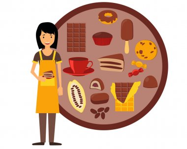 Confectioner holding a plate with cake. Vector illustration