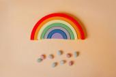 rainbow with rain of chocolate eggs - easter