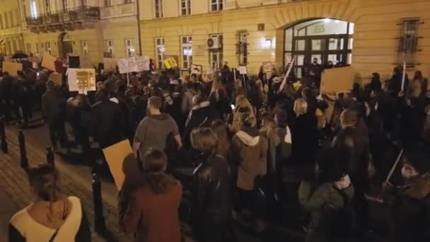 Warsaw, Poland 30.10.2020 - Anti abortion and human rights protest, Womens strike, Crowd of people demonstrating against enforced law forbidding abortion