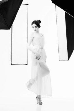 Beautiful woman posing in Studio. Studio black and white photography stock vector