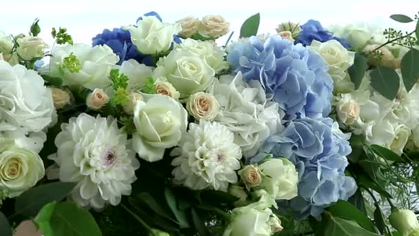 hydrangeas and roses in floral arrangements