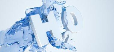 3D H2O sign on white