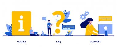 Guides, FAQ, support concept with tiny character and icons. Info center, customer online communication abstract vector illustration set. Helpdesk, clients assistance, helpful information metaphor. icon