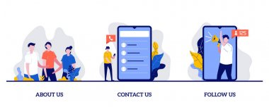 About us, contact us, follow us concept with tiny character and icons. Customer loyalty and technical support abstract vector illustration. Clients hotline, website information metaphor. icon
