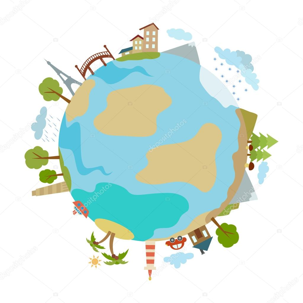 Cute illustration of planet with houses, trees, buildings made in a flat style.. Vector design element.