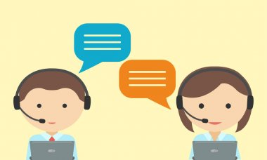 Man and woman in headset. Call center concept . customer service operator