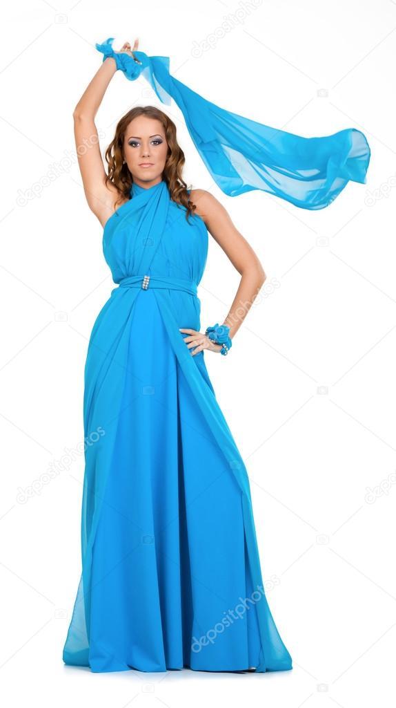 Vestido de noche azul aqua