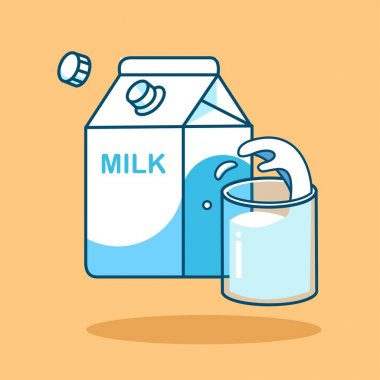 Milk Icon. Glass of milk with gable top package close up. Cow milk carton and cup isolated. Vector cartoon illustration icon