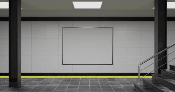 Mockup prázdného bílého reklamního městského billboardu v hale metra; prázdný informační banner zástupný vzor na stanici metra nebo železnice