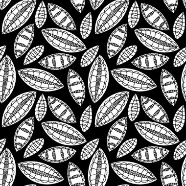 vector seamless black and white floral motif with leaves, background pattern