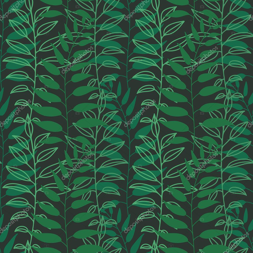 Background with leaves. Vector texture with hand drawn leaves and plants. Vector pattern. Stylised flat different kind of leaves, natural background.