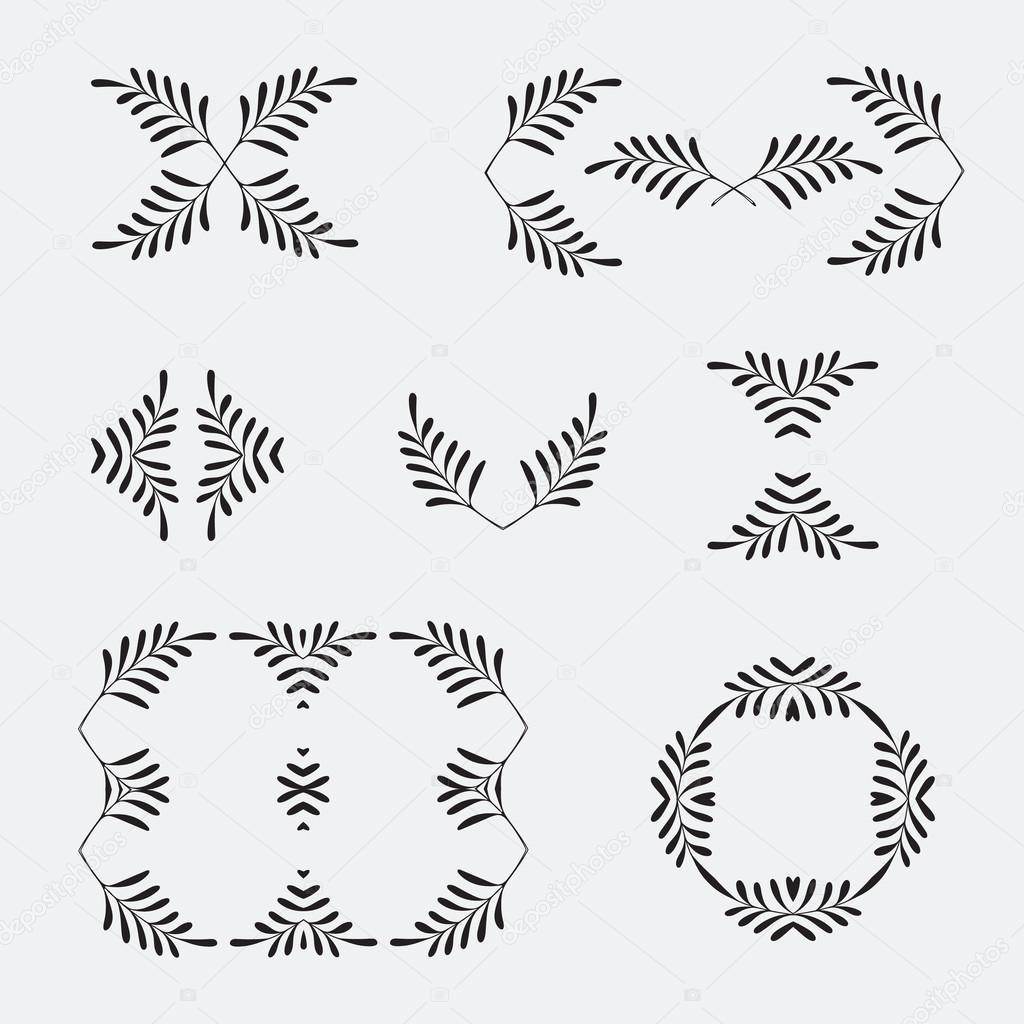 Elegant verzierten floral Design-Vorlagen. Lineart Frames und ...
