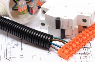 Corrugated pipe and component for electrical installations on drawing