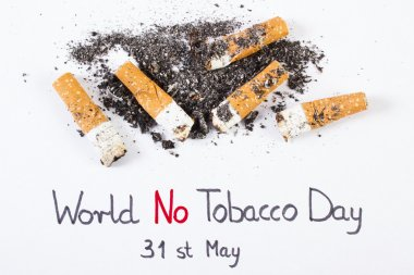 Cigarette butts and ash, world no tobacco day