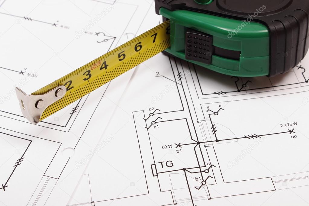 Maßband Auf Elektrische Konstruktion Zeichnung Des Hauses U2014 Stockfoto