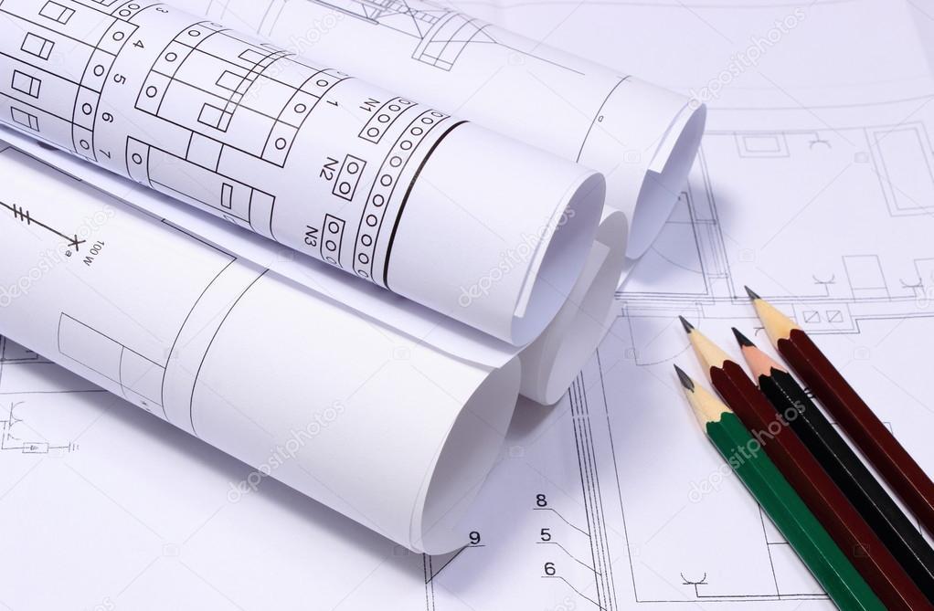 Schemi Elettrici Free : Rotoli di schemi elettrici e matite u2014 foto stock © ratmaner #112932354