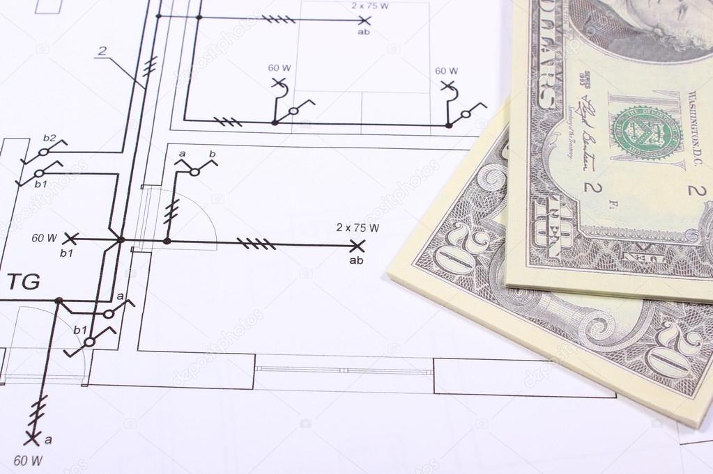 Haufen von Banknoten auf Bau des Hauses zeichnen — Stockfoto ...