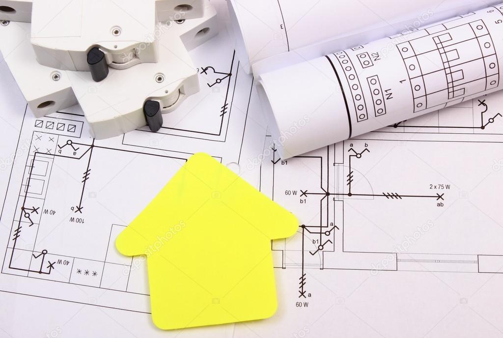 Haus Der Gelben Papier, Elektrische Sicherung Und Konstruktionszeichnung U2014  Stockfoto