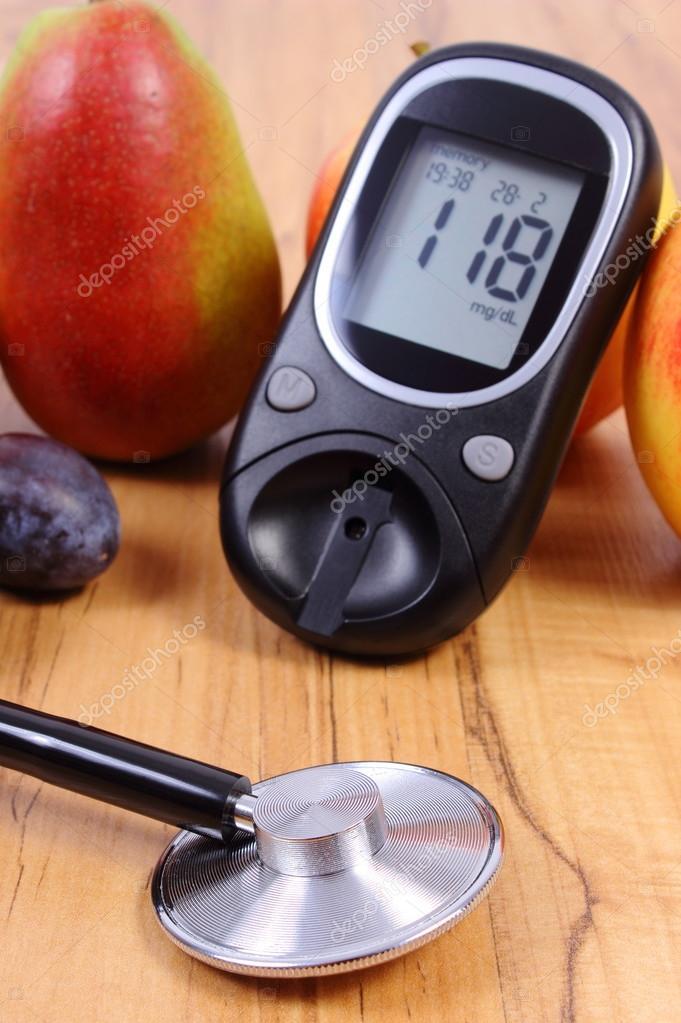 Zuckermessgerät Mit Medizinischen Stethoskop Und Frisches Obst