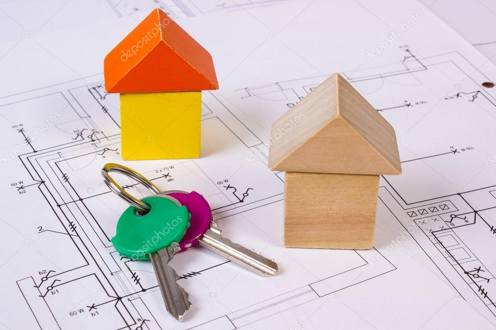 Case di blocchi di legno e tasti sulla costruzione disegno for Aprire piani casa concetto