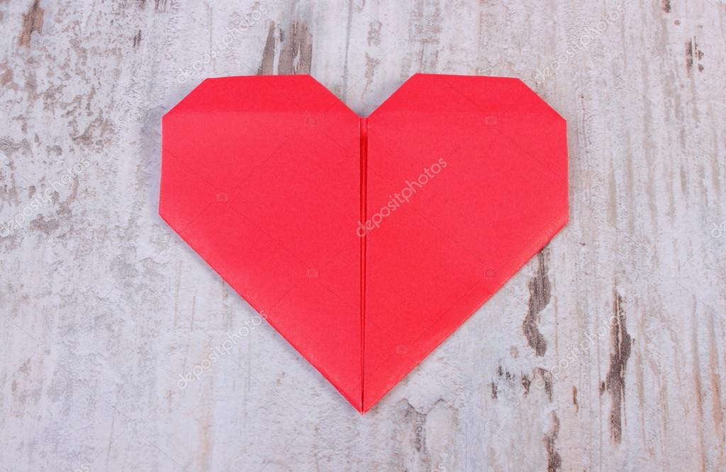 Red Heart Of Paper On Old Wooden White Table Symbol Of Love