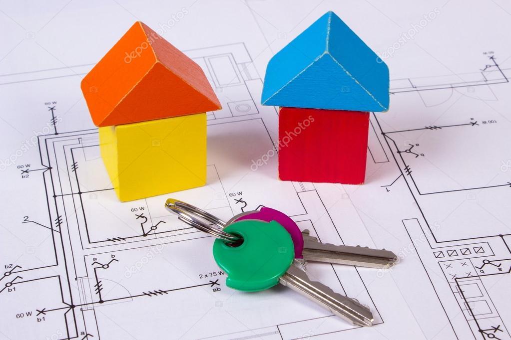 Case di blocchi di legno e tasti sulla costruzione disegno for Aprire i piani casa artigiano concetto