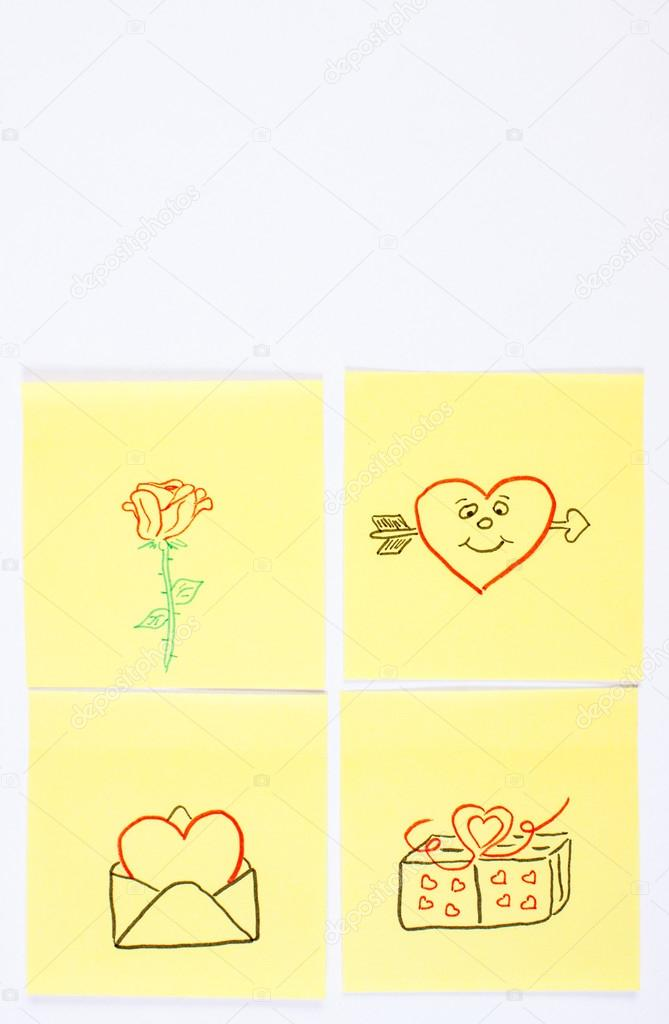 Symbols Of Valentines Day Drawn On Paper Symbol Of Love Copy Space
