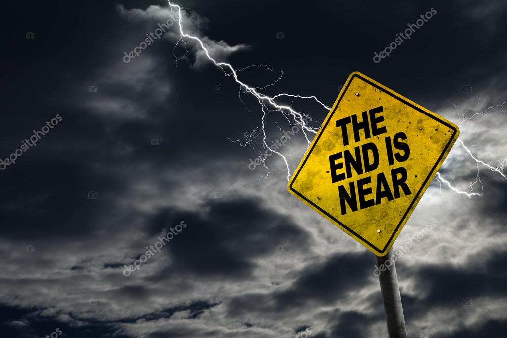 end is near sign with stormy background stock photo ronniechua
