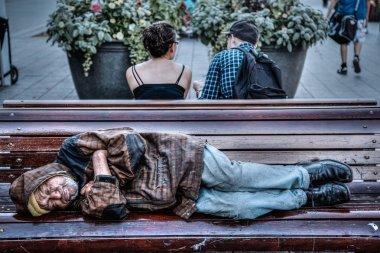 Homeless Senior Man Sleeping on Park Bench