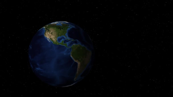 Rotating earth in outer space zooms in to Africa