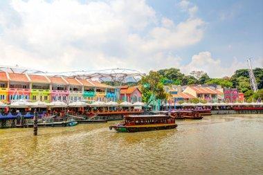 Singapore Landmark: HDR of Clarke Quay on Singapore River