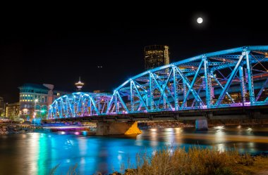 Full Moon Over Langevin Bridge in Downtown Calgary
