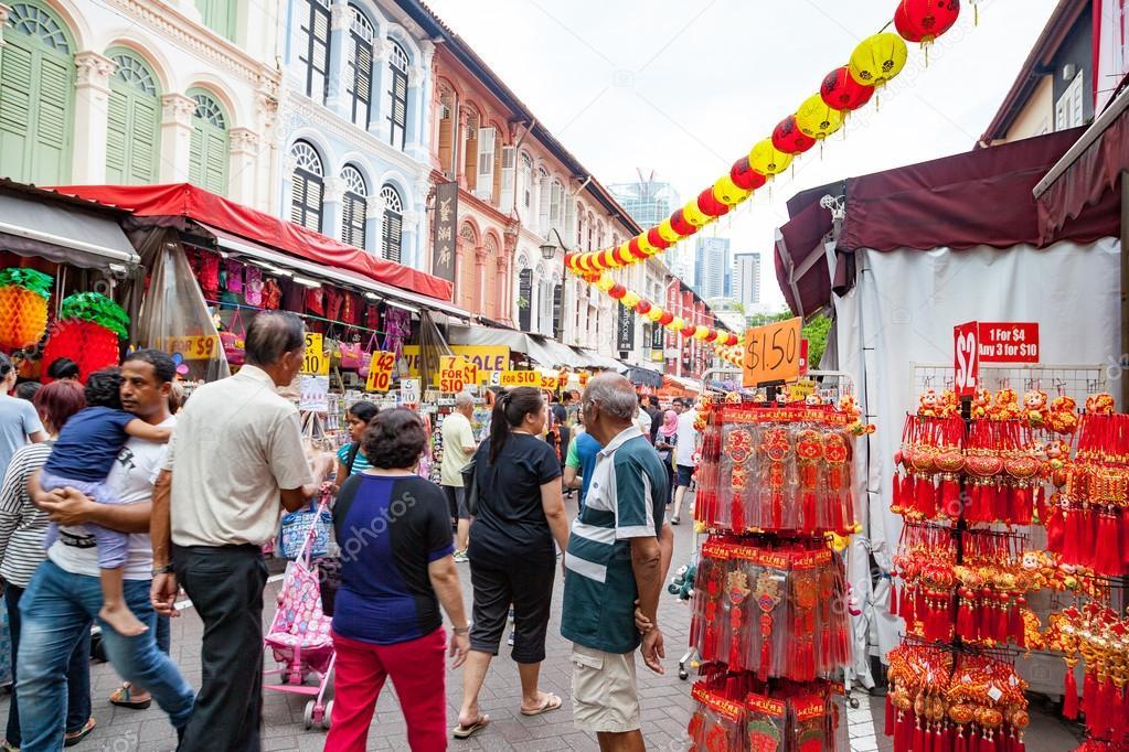 Chinesisches Neujahr, Einkaufen in Singapur Chinatown ...