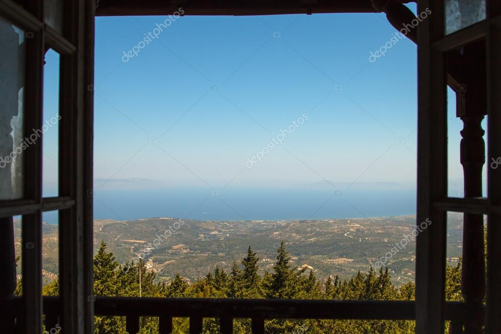 view from window of  abandoned building on sea Rhodes Greece