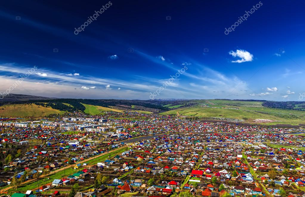 Sim real city in Bashkiria, Russia, view from above