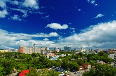 modern buildings a bright summer day Yekaterinburg