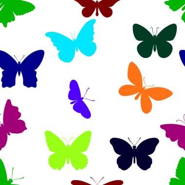 "Картина, постер, плакат, фотообои ""бесшовный рисунок бабочек. коллекция цветных летних бабочек"", артикул 451414762"