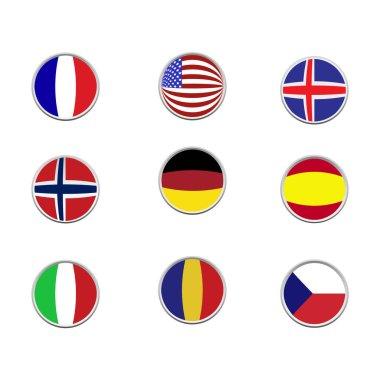 """Картина, постер, плакат, фотообои """"векторные круговые флаги мира. значки флага в плоском стиле"""", артикул 470859222"""