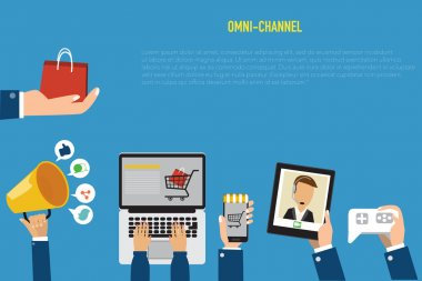 OMNI-Channel concept for digital marketing and online shopping.I