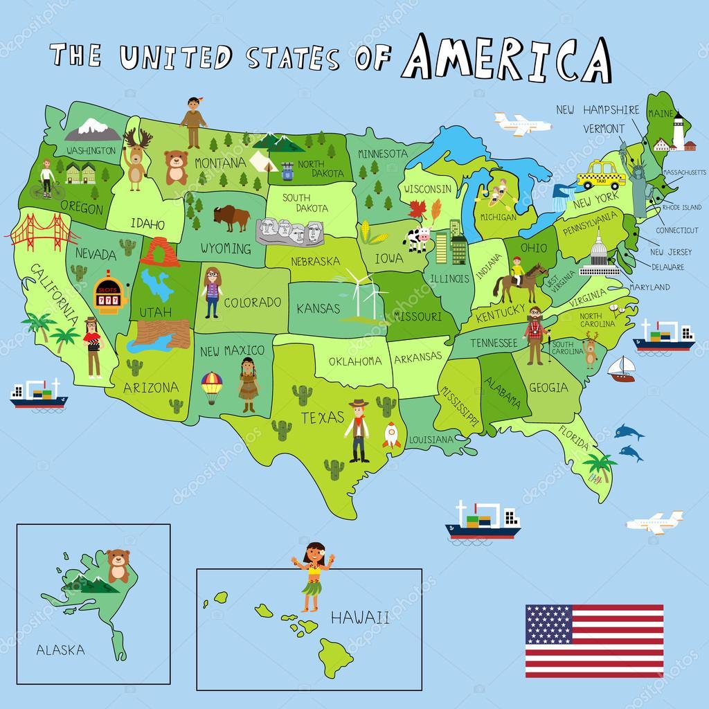 karta stater usa USA bilder med delstater karta vektor illustration Eps10 — Stock  karta stater usa