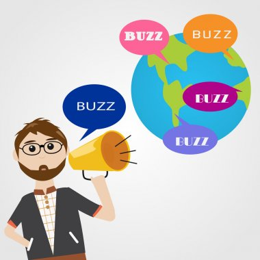 Hipster man in digital marketing concept Buzz word of mouth marketing